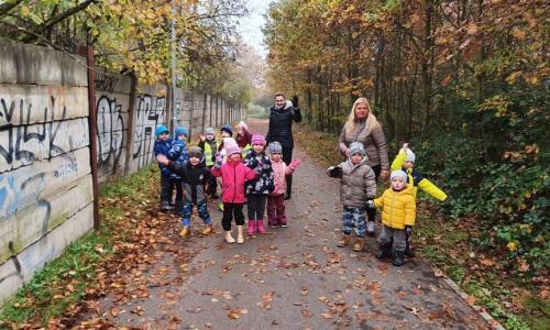 Pravidelná vycházka. Tentokrát krásně podzimní. Paní učitelky učí v listí hledat barvy a různé tvary.